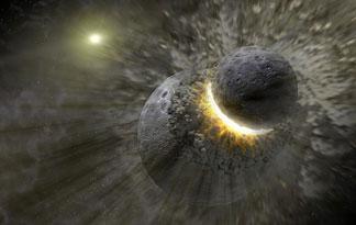 Fotomontaggio collisione satellite pianeta